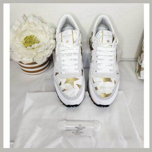 Valentino White & Gold Star Sneakers Size 8